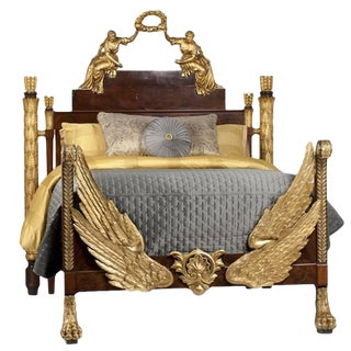 19th Century Russian Style Partial Gilt Bed With Angels For Sale