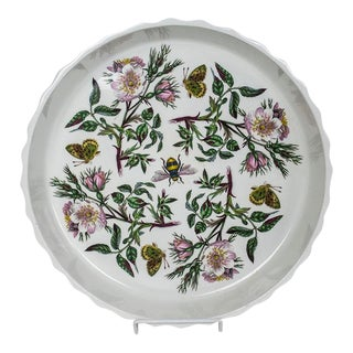 "Vintage Portmeirion Botanic Garden 12"" Quiche Plate - Dog Rose Pattern For Sale"