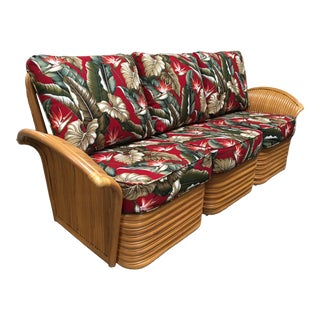 Art Deco Style Rattan Fan Arm Three-Seat Sectional Sofa For Sale