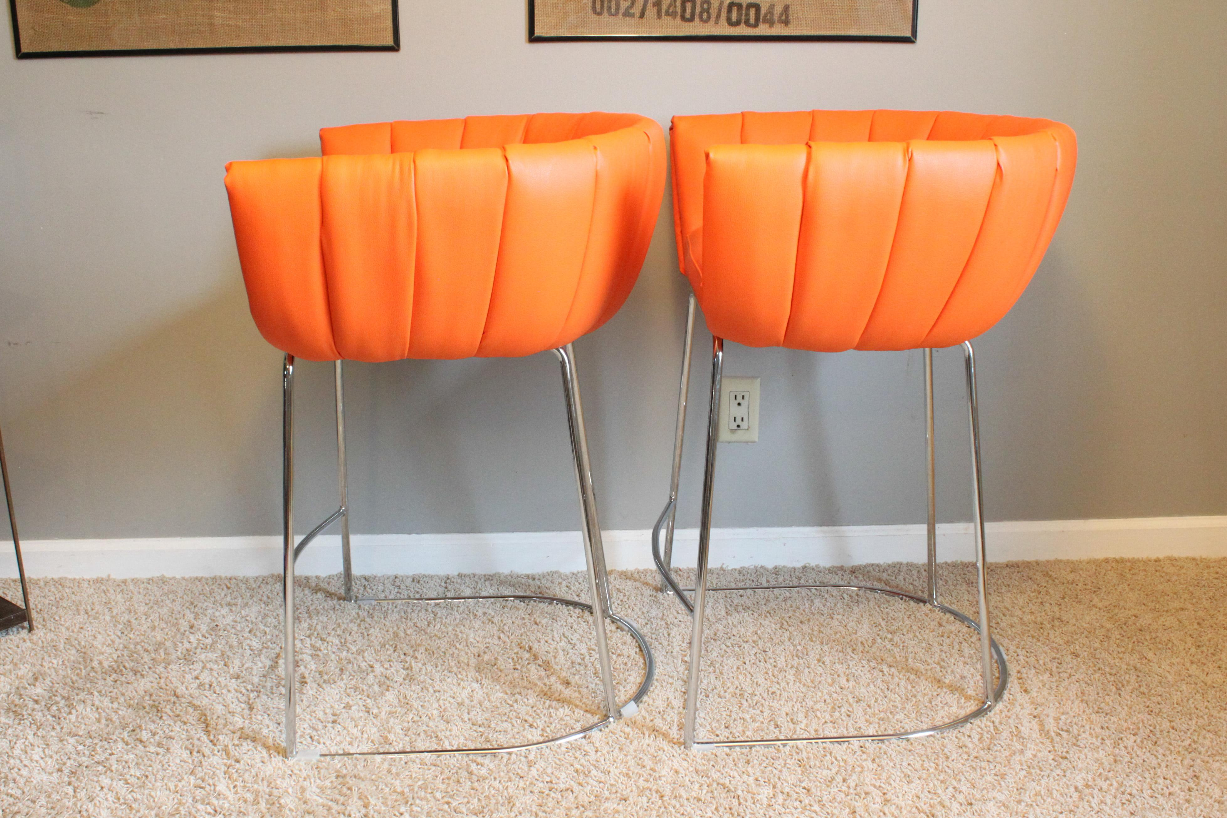 Contemporary Zuo Modern Orange Latte Counter Height Chairs   A Pair For  Sale   Image 6
