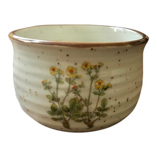 Vintage Speckled Ceramic Botanical Flower Planter Pot