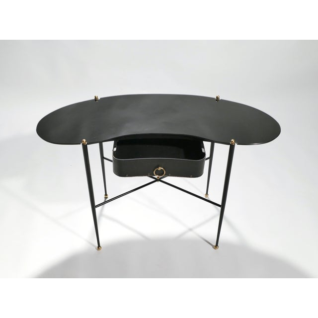 Metal Jacques Adnet Leather Desk Vanity With Stool, 1940s For Sale - Image 7 of 13