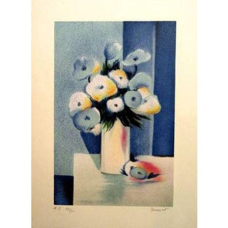 "Jean-Louis Honnet ""Fleurs Bleues"" Signed Lithograph For Sale"