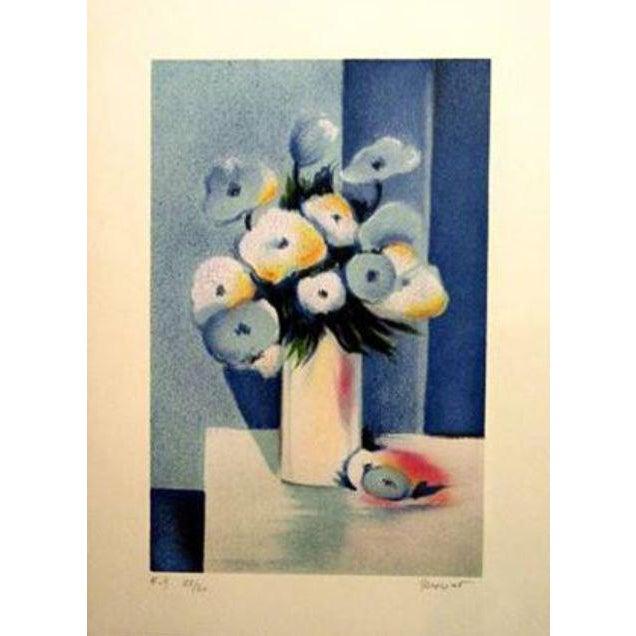 """Jean-Louis Honnet """"Fleurs Bleues"""" Signed Lithograph For Sale"""