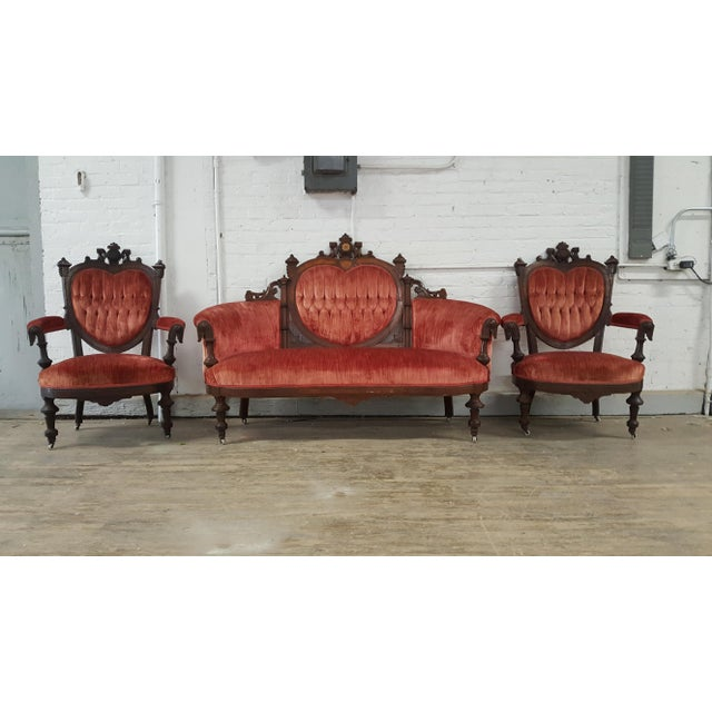 Antique Eastlake Heart-Back Red Velvet Settee & Chairs- Set of 3 - Image 2 of 9