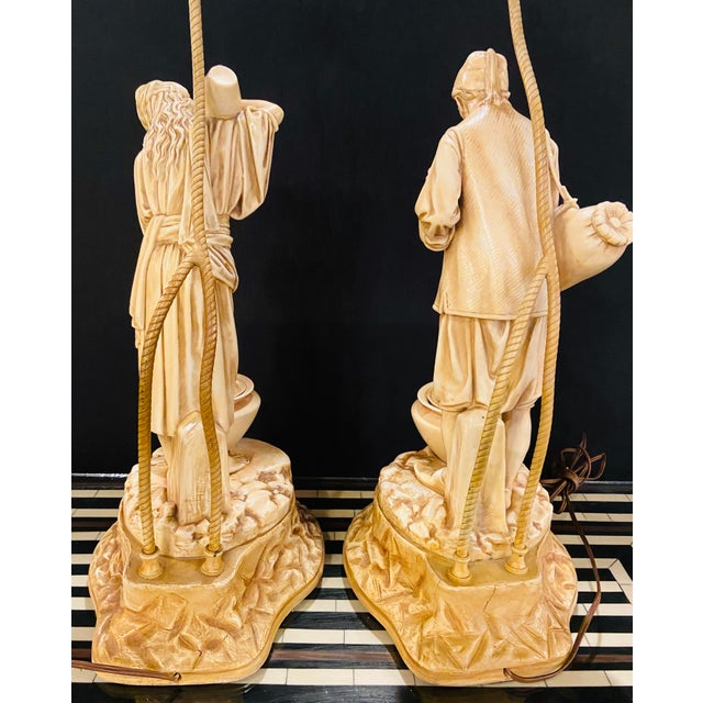 Cream Water Bearers in a Finely Cast Porcelain Finish, Table Lamps, a Pair For Sale - Image 8 of 13