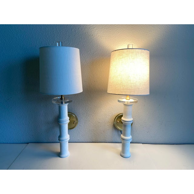 Chinoiserie Bamboo-Style Sconces & Shades - a Pair For Sale - Image 3 of 11