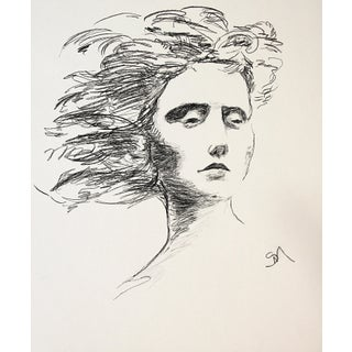 """2020 """"Sunlight, Breeze"""" Contemporary Portrait Charcoal Drawing by Sarah Myers For Sale"""