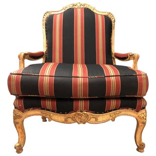 1970s Vintage Louis XV Style Giltwood Fauteuil For Sale