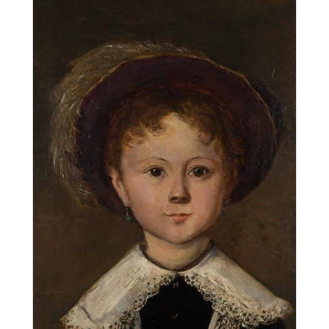 A 19th Century French Impressionist portrait of a young girl, elegantly dressed and holding her play hoop and stick. The...