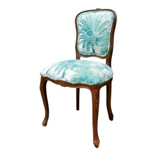 Italian Carved Wood Botanical Accent Chair For Sale