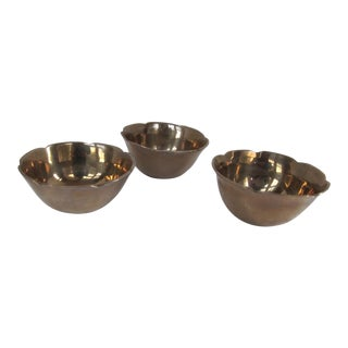 Small Scalloped Edge Brass Bowls - 3 -Pieces For Sale