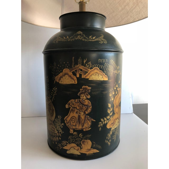 Mid 20th Century Chinese Style Dark Green Tole Tea Canister Lamps – a Pair For Sale - Image 5 of 7