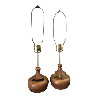 1970s Adrain Pearsall Walnut and Brass Lamps - a Pair For Sale