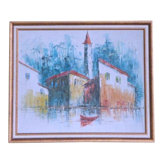 1960s Vintage Tropical Harbor Post Impressionist Painting For Sale