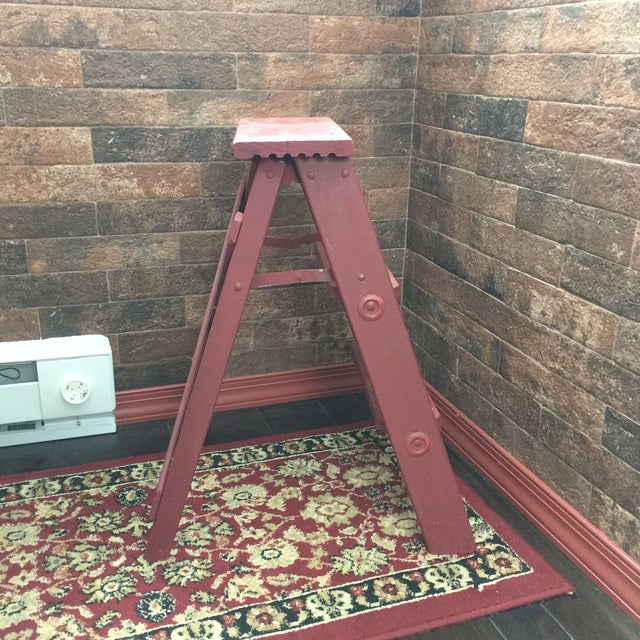 Fantastic Vintage Painted Wood Step Ladder Step Stool Machost Co Dining Chair Design Ideas Machostcouk