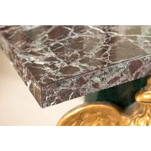 Marble Top Gilt Wood Carved Eagle Pedestal Table - Image 5 of 6