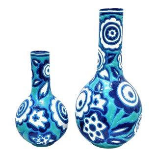 Floral Italian Vases - A Pair