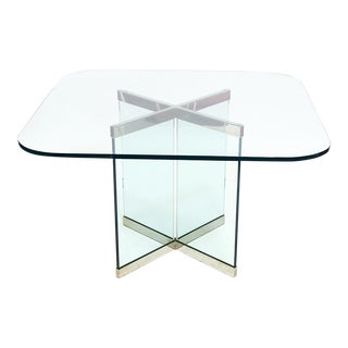 Glass & Chrome Dining Table by Leon Rosen for Pace Collection For Sale