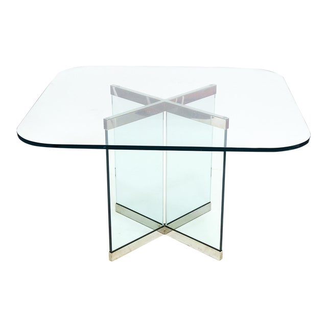 Glass & Chrome Dining Table by Leon Rosen for Pace Collection - Image 1 of 10
