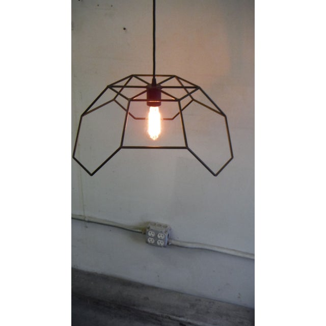 2010s Bronze and Steel Hexa-Pyramid Pendant Light For Sale - Image 5 of 5