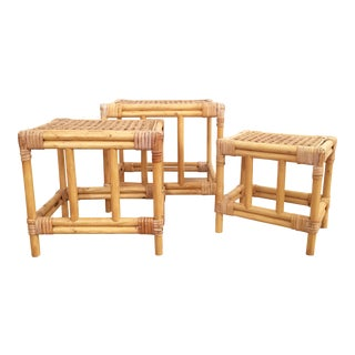 Vintage Bamboo Nesting Plant Stands - Set of 3