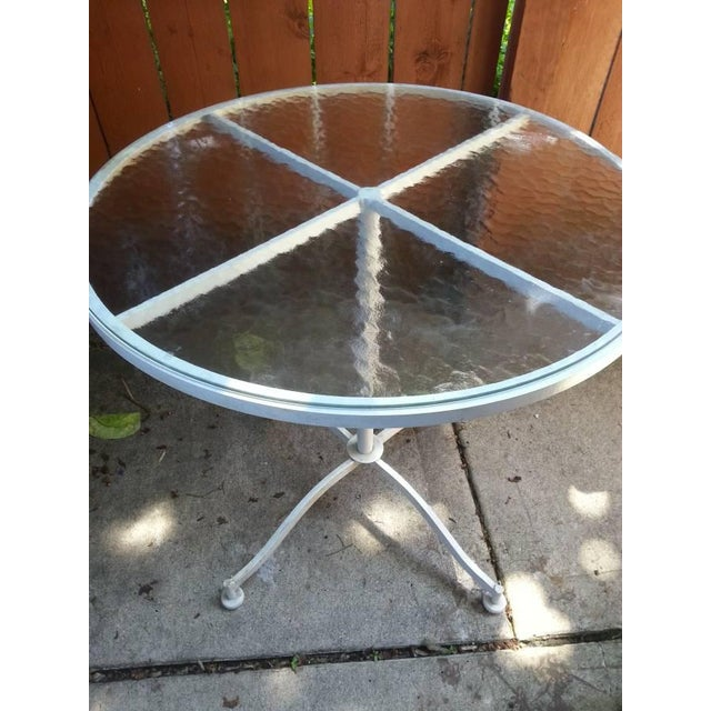 Vintage Meadowcraft White Wrought Iron Bistro Table & Chairs- Set of 3 - Image 3 of 6