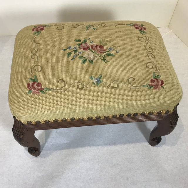 1940s Shabby Chic Needlepoint Footstool For Sale - Image 9 of 9
