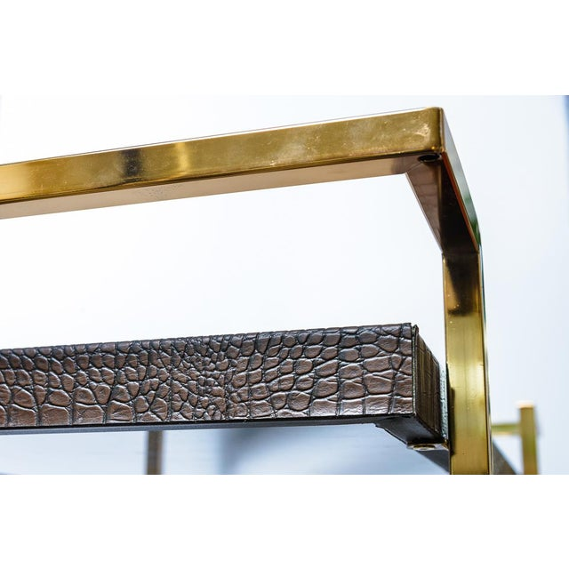 Gold Mid Century Bar Cart, Leather Wrapped Tray With Smoked Mirror For Sale - Image 8 of 13