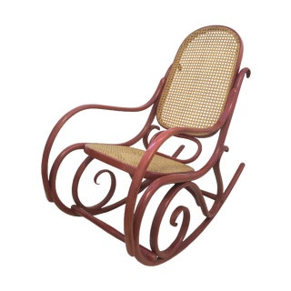 1970s Vintage Thonet-Style Bent Cane Rocking Chair For Sale