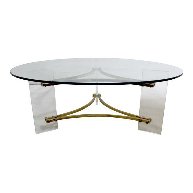 Charles Hollis Jones Mid-Century Brushed Brass & Acrylic Coffee Table For Sale - Image 9 of 9