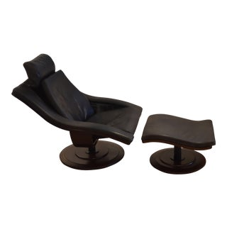 Roche Bobois Pacha Swivel Armchair & Ottoman For Sale