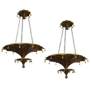 Pair of Faux-Tortoise Pagoda Shaped Tole Fixtures For Sale