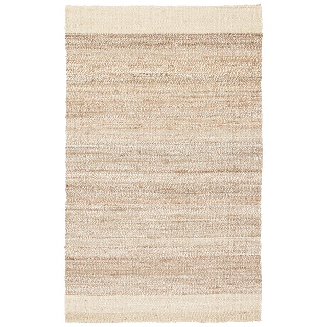 Jaipur Living Mallow Natural Bordered White/ Tan Area Rug - 2′ × 3′ For Sale