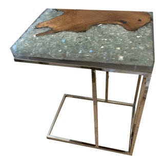 Organic Modern Resin and Wood Side Table For Sale