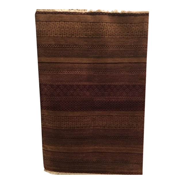 Reddish Brown Contemporary Grass Pattern Carpet - 4′ × 6′ For Sale