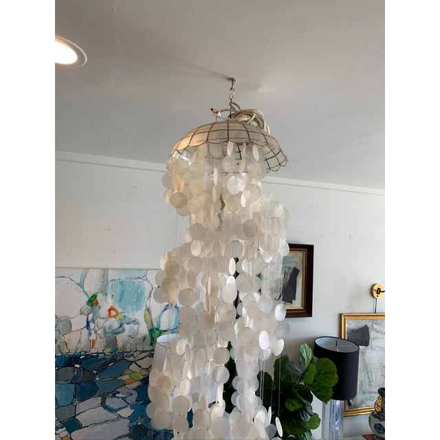 Metal 1970s Capiz Shell Spiral Chandelier For Sale - Image 7 of 9