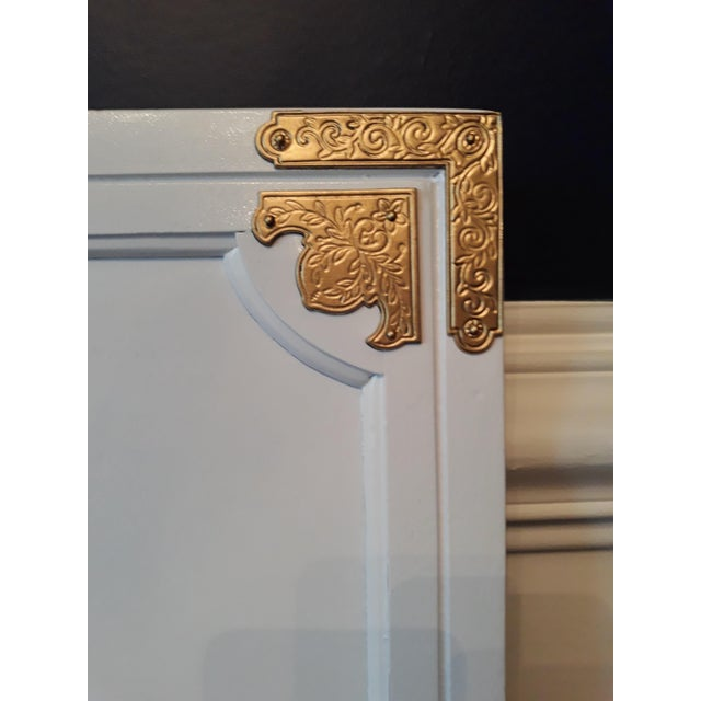 Paint Chinoiserie Campaign Lacquered Henredon Full/Queen Headboard For Sale - Image 7 of 8