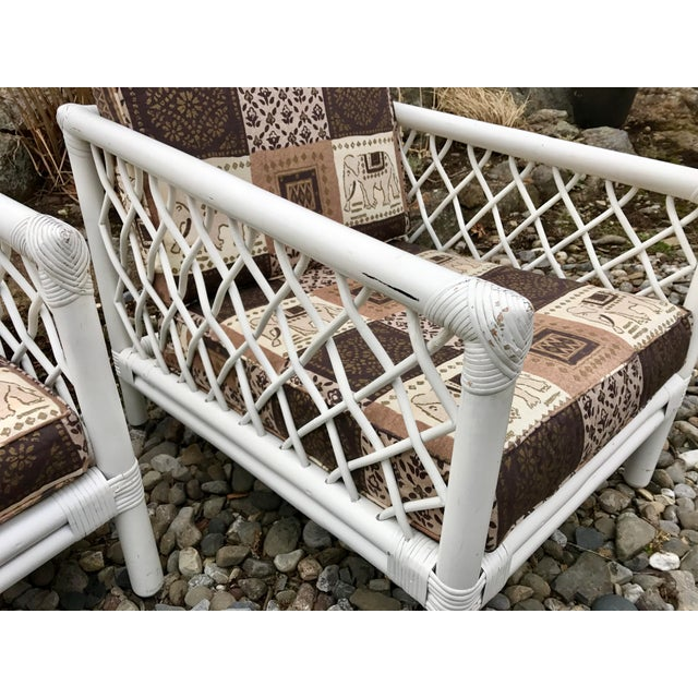 Vintage Willow & Reed Rattan Arm Chairs - A Pair For Sale - Image 9 of 11