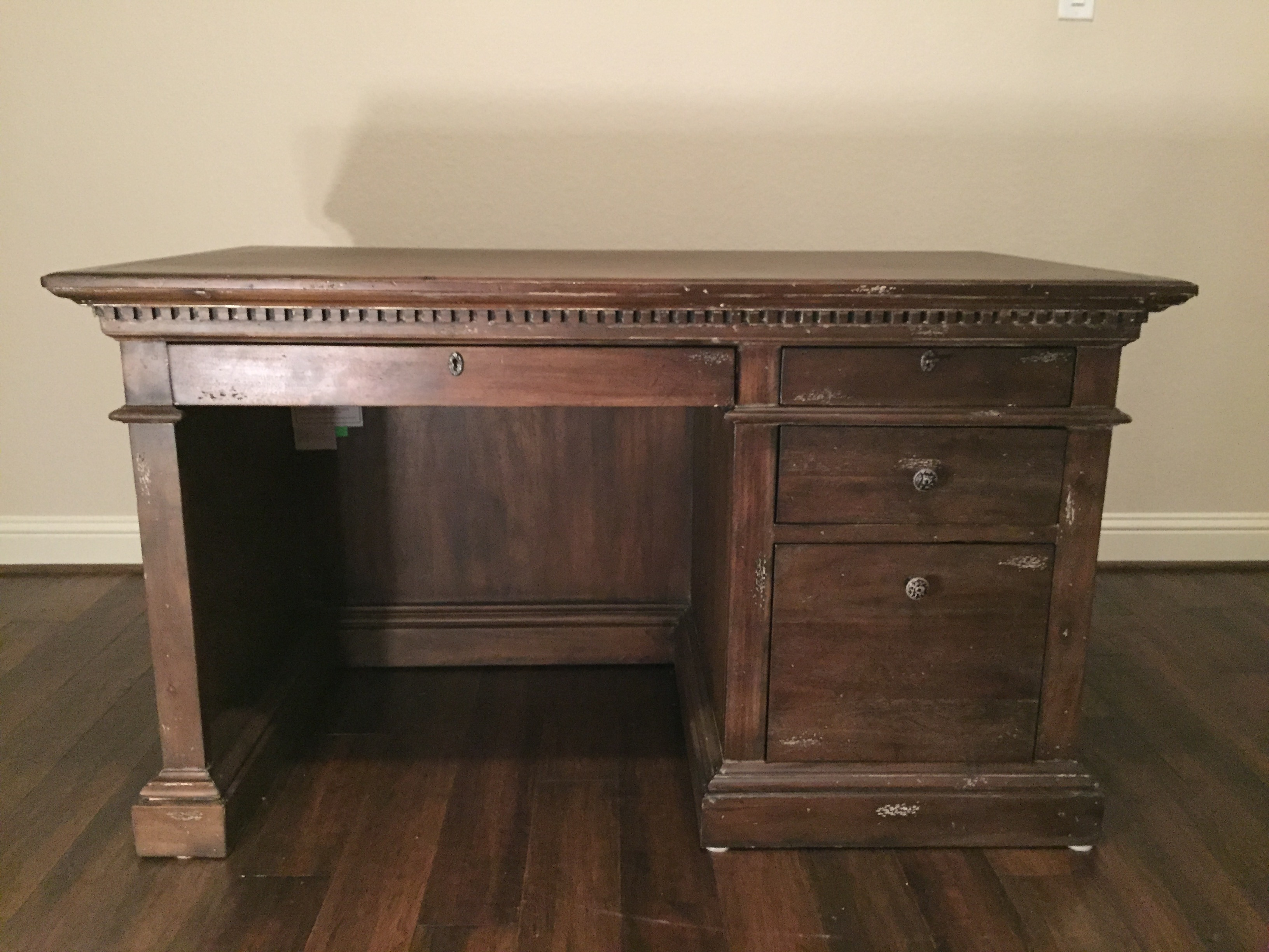 This Classic Restoration Hardware Desk Is Both Beautiful And Functional.  Very Big Surface Space.