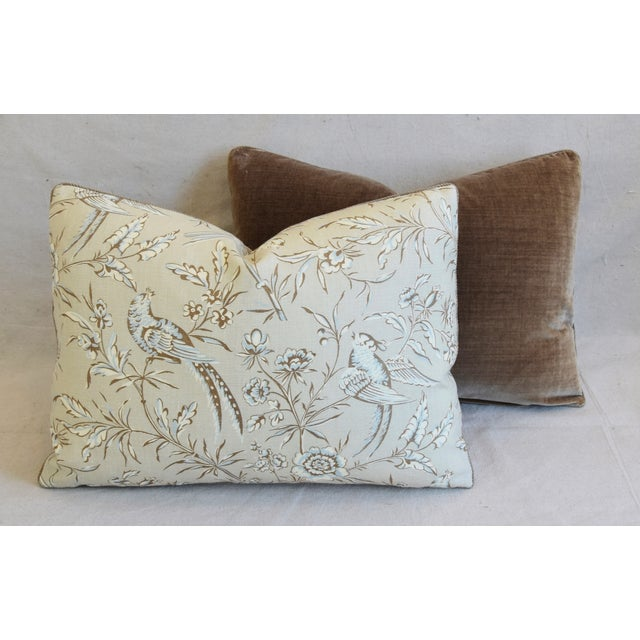 """Scalamandre Aviary & Velvet Feather/Down Pillows 22"""" X 16"""" - Pair For Sale - Image 11 of 13"""