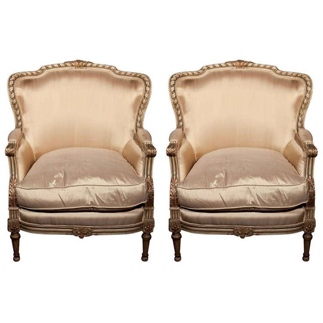 French Louis XVI Style Bergère Chairs - A Pair For Sale - Image 11 of 11