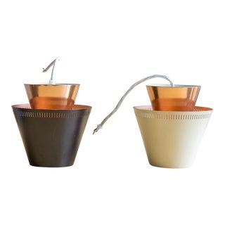 1950s Scandinavian Copper Pendant Lights - a pair For Sale
