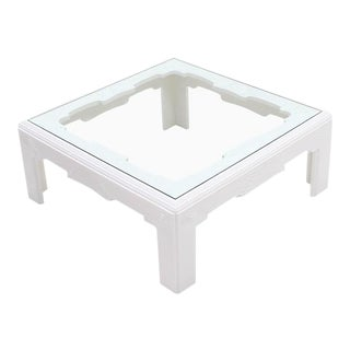 Modern Wave Pattern Carving White Lacquer Coffee Table For Sale