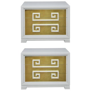 """Kittinger """"Greek Key Chests"""" in White Lacquer with Brass-Clad Drawer Fronts For Sale"""
