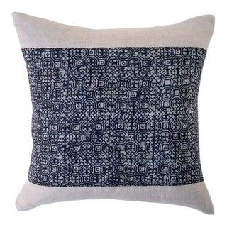 "Square Indigo Batik Pillow - 16""x16"" For Sale"