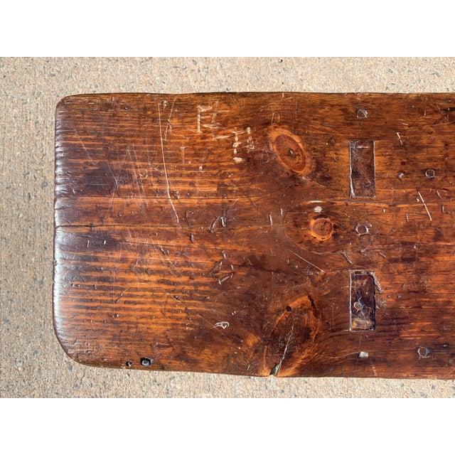 1920s Vintage Primitive Brown Pine Bench For Sale - Image 4 of 13