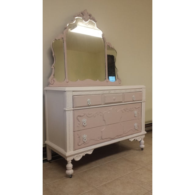 Antique Shabby Chic Dresser With Mirror For Sale In New York - Image 6 of 6 - Antique Shabby Chic Dresser With Mirror Chairish