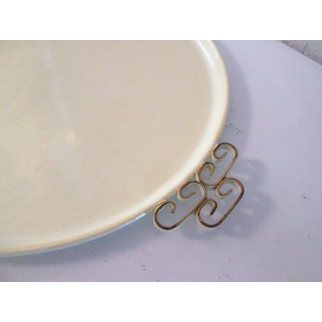 Mid-Century Modern Off-White Kyes Moiré Tray - Image 4 of 5