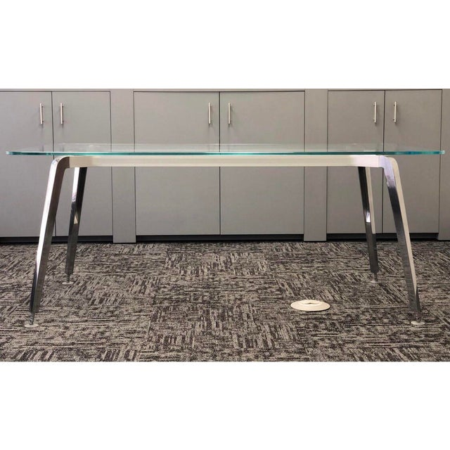 """Contemporary glass/aluminum """"Eleven"""" desk by Swiss designer Daniel Korb. Minimalist contemporary table that could function..."""